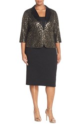 Alex Evenings Plus Size Women's Alex Evening Sheath And Metallic Jacquard Jacket