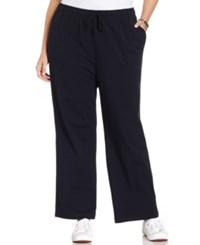 Karen Scott Plus Size Lounge Drawstring Pants Classic Navy