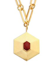 Stephanie Kantis Avail Wood Pendant Necklace Gold Wood