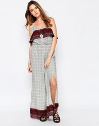Brave Soul Printed Overlay Maxi Dress Navyred