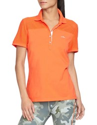 Lauren Ralph Lauren Mesh Panel Polo Shirt Orange