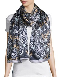 Echo Abstract Print Sheer Scarf Black