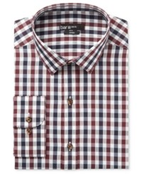 Bar Iii Men's Slim Fit Wine And Blue Textured Gingham Dress Shirt Only At Macy's