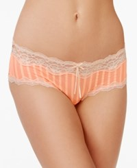 Heidi Klum By Mesh And Lace Striped Hipster H308 1168B Only At Macy's Neon Coral Silver Peony