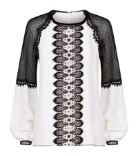 Andrew Gn Lace Panelled Long Sleeve Top Female White