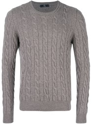 Fay Cable Knit Jumper Grey