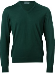 Drumohr V Neck Jumper Green