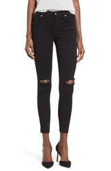 James Jeans Women's High Rise Ripped Skinny Black Swan Raw