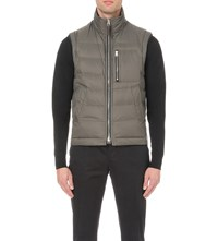 Tom Ford Zip Up Quilted Shell Gilet Grey