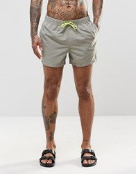 Asos Swim Shorts In Khaki With Neon Drawcord In Short Length Green