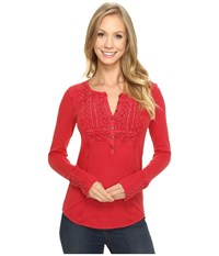 Lucky Brand Washed Bib Henley Thermal Top Berry Red Women's Clothing