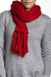 Nine West Cable Knit Open Weave Scarf Red