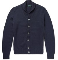 Incotex Shawl Collar Virgin Wool Cardigan Navy