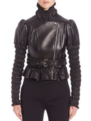 Alexander Mcqueen Lambskin Leather Ruched Sleeve Jacket Black