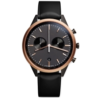 Uniform Wares C41 Chronograph Wristwatch Pvd Rose Gold And Black Rubber