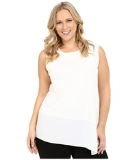 Vince Camuto Plus Size Sleeveless Top With Asymmetrical Heavy Georgette Hem New Ivory Women's Sleeveless Bone