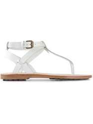 Buttero Buckled T Bar Sandals White