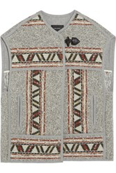 Isabel Marant Diva Oversized Embroidered Wool Blend Vest Gray