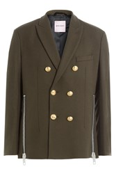 Palm Angels Wool Blazer With Zippers Green