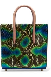 Christian Louboutin Paloma Spiked Metallic Python And Leather Tote Blue Snake Print