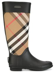 Burberry Checked Panel Rain Boots Black