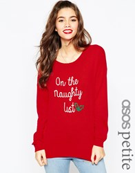 Asos Petite Christmas Jumper In 'I'm On The Naughty List' Red