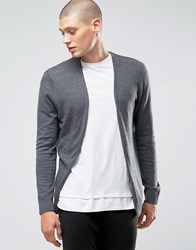 Asos Cotton Buttonless Cardigan In Charcoal Charcoal Grey