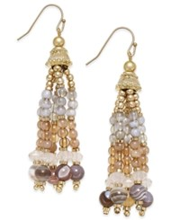 Inc International Concepts Gold Tone Semi Precious Beaded Tassel Earrings Only At Macy's Brown Agate