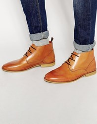 River Island Chukka Boots In Faux Leather In Brown Tan