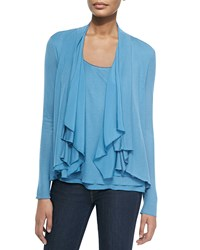 Elie Tahari Farrell Draped Collar Cardigan Women's Light Blue