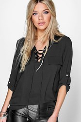 Boohoo Lace Front Woven Blouse Black