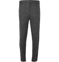 Haider Ackermann Tapered Grosgrain Trimmed Wool Flannel Trousers Gray