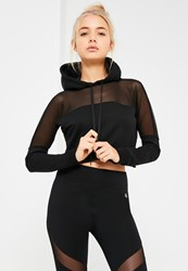 Missguided Active Mesh Panel Hoodie Black