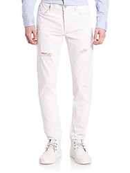 Hudson Sartor Slouchy Skinny Distressed Jeans White
