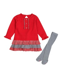 Petit Lem Holiday Celeb Ruffled Dress And Tights Set D120 Holid