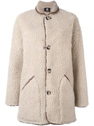 Paul Smith Ps By Shearling Effect Coat Nude Neutrals