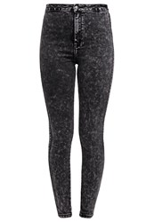 Missguided Slim Fit Jeans Acid Black Bleached Denim