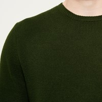 River Island Mens Dark Green Textured Jumper