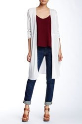 Hip Knit And Woven Open Cardigan White
