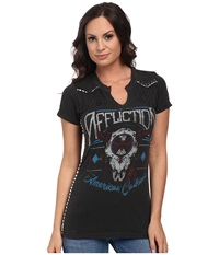 Affliction Ac Thunderbolt Short Sleeve Western Tee Vintage Black Vapor Wash Women's T Shirt