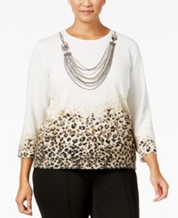 Alfred Dunner Plus Size Madison Park Collection Animal Print Necklace Sweater Multi