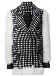 Yigal Azrouel Contrast Sleeve Checked Coat Green
