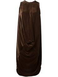 Rick Owens Draped Velvet Dress Brown