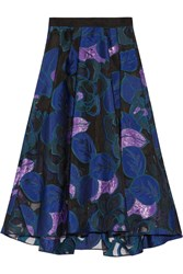 Lela Rose Embroidered Tulle Skirt Blue Purple