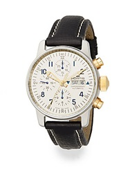 Fortis Flieger Automatic Limited Edition Stainless Steel 18K Yellow Gold And Leather Chronograph Watch Black