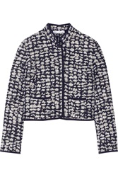 Oscar De La Renta Boucle Tweed Jacket Blue