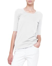 Akris Layered Front Silk Jersey Tee Rose Des Sables
