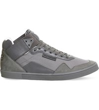 Adidas Y3 Kazuhuna Leather And Mesh Trainers Vista Grey