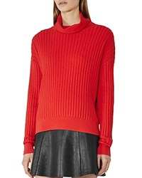 Reiss Clarisse Ribbed Turtleneck Sweater Cherry Red