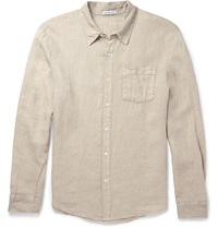 James Perse Slim Fit Linen Shirt White